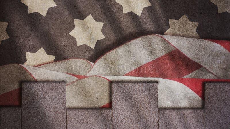 USA-Flagge Wellen und Merlons lizenzfreie stockbilder