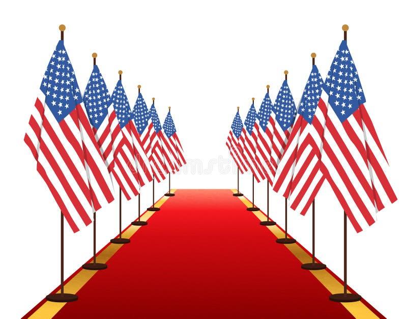 USA-Flaggendurchlauf auf rotem Teppich stock abbildung