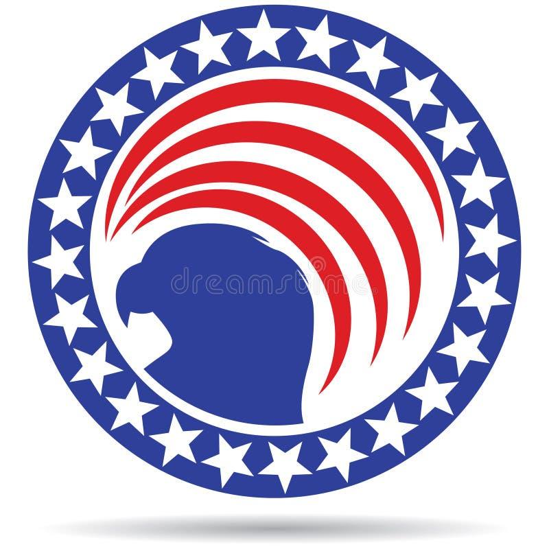 USA-Flaggenikonen-Sternadler stock abbildung