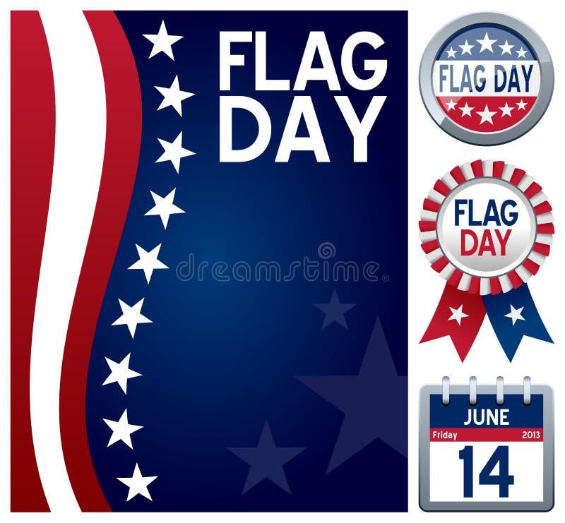 USA flaggmärkesdaguppsättning royaltyfri illustrationer