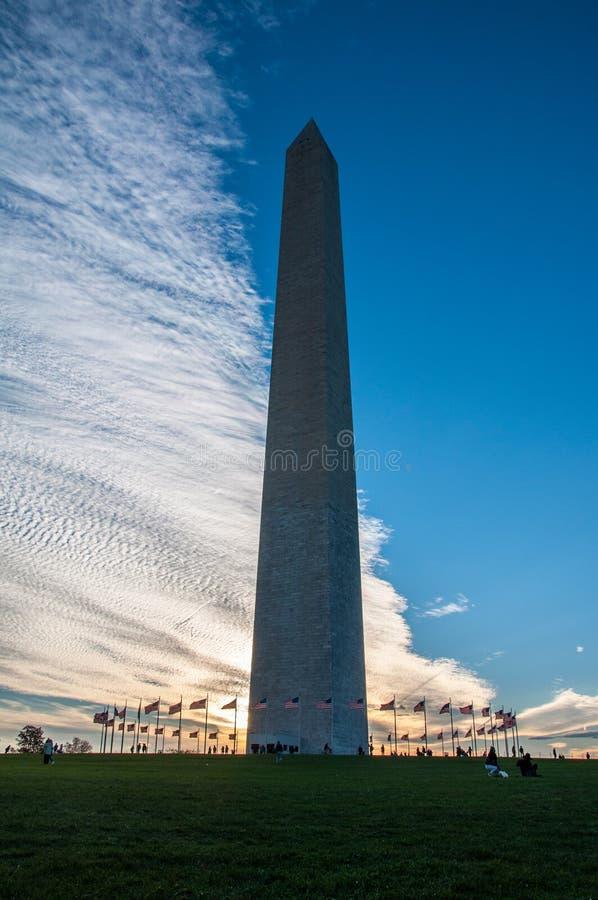 USA-flaggor som omger Washington Monument på solnedgången royaltyfri bild