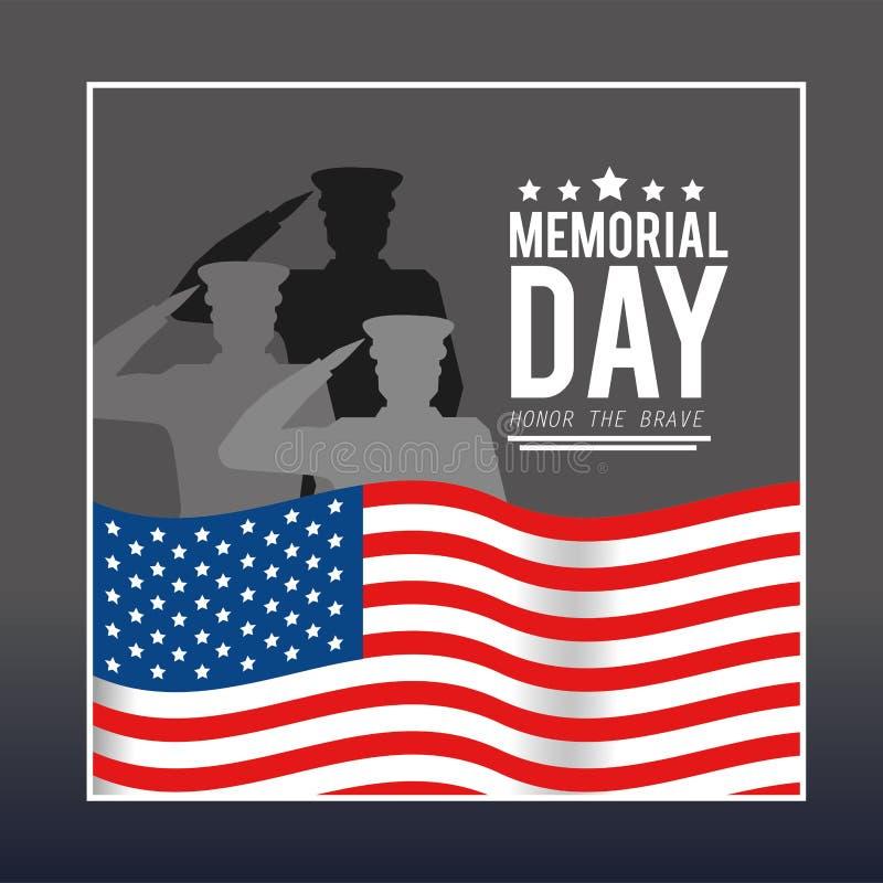 Usa flagi wiyh wojskowy dzień pamięci royalty ilustracja