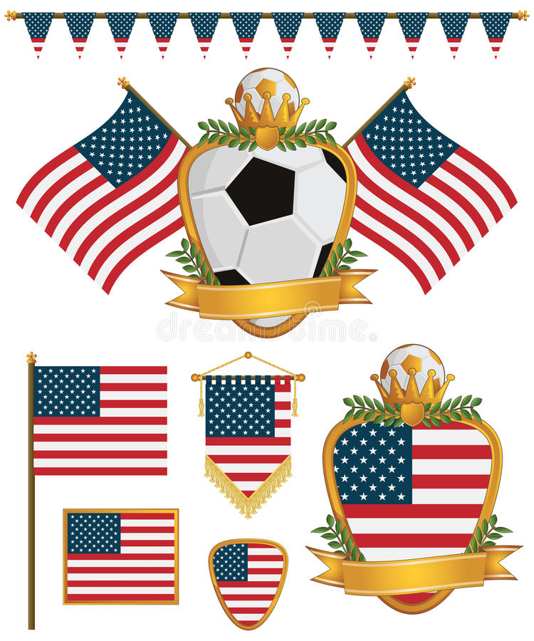 Usa Flags Royalty Free Stock Image