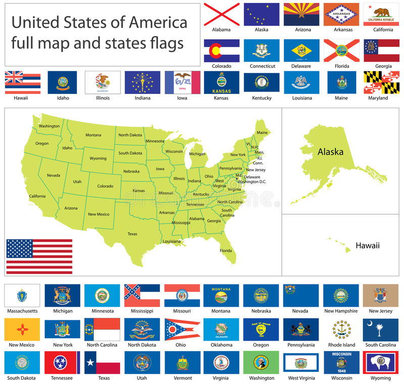 Download USA flags and map stock vector. Image of illinois, delaware - 16434853