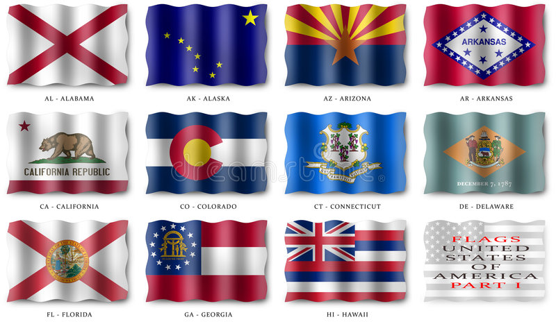 USA FLAGS POSTER (PART I) stock photos