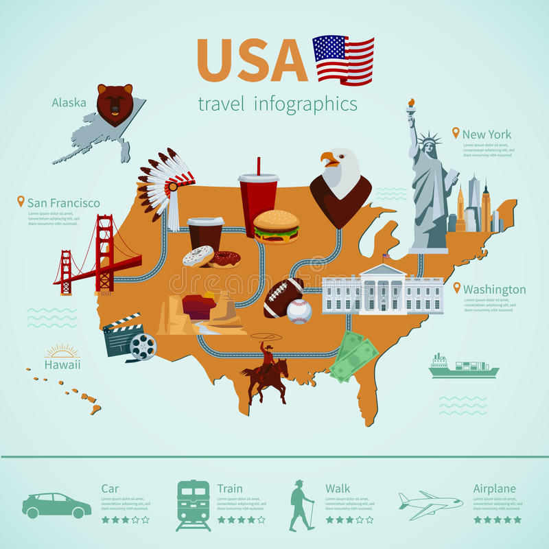 Usa flat map infographics stock vector illustration of presentation usa flat map travel infographics showing american national symbols and tourist attractions vector illustration ccuart Choice Image