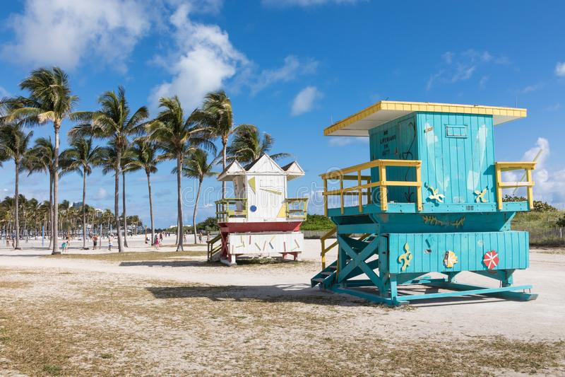 USA, FLORIDA, MIAMI. February 18, 2018. Lifeguard tower in a col royalty free stock image