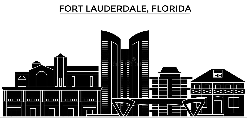 Usa, fort lauderdale, Floryda architektury miasta wektorowa linia horyzontu, podróż pejzaż miejski z punktami zwrotnymi, budynki, ilustracji