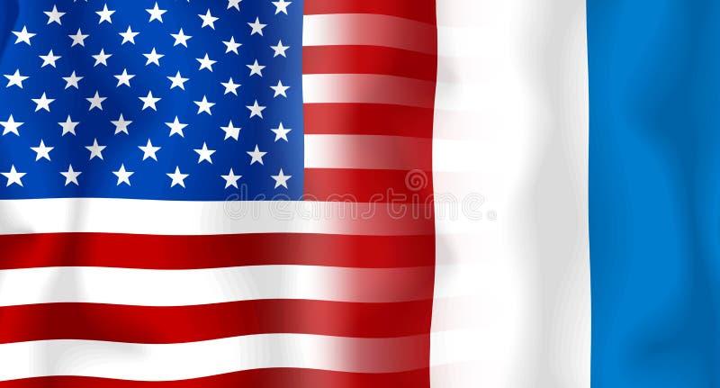 USA-Frankreich Markierungsfahne stock abbildung