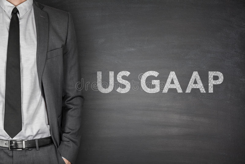 USA Gaap på svart tavla royaltyfria foton