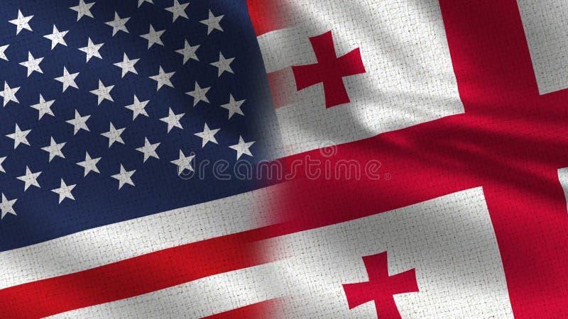 USA Georgia Realistic Half Flags Together royaltyfri fotografi