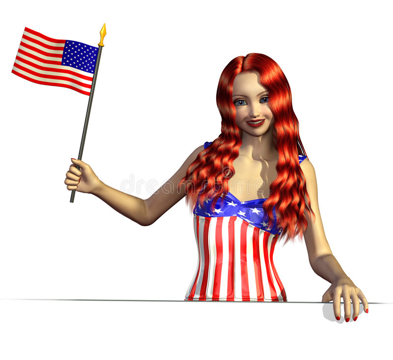 Download USA Girl With Flag Near An Edge Stock Illustration - Illustration of patriotic, pride: 5020627
