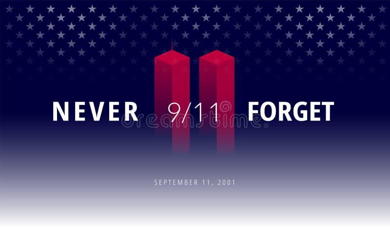 9/11 USA glömmer aldrig September 11, 2001 Begreppsmässig illu för vektor vektor illustrationer