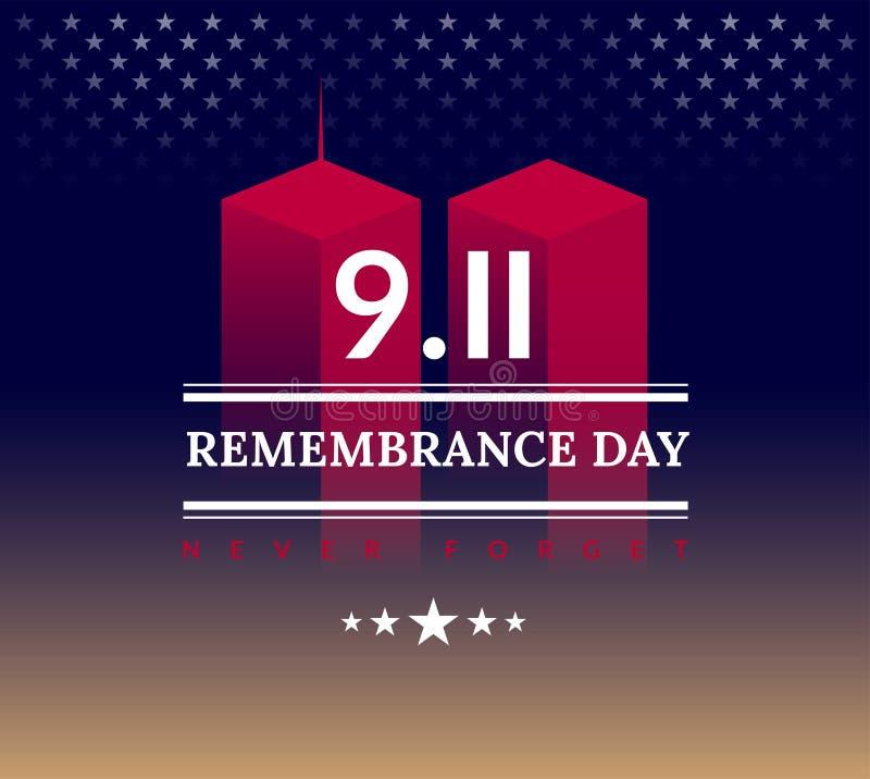9/11 USA glömmer aldrig September 11, 2001 Begreppsmässig illu för vektor stock illustrationer