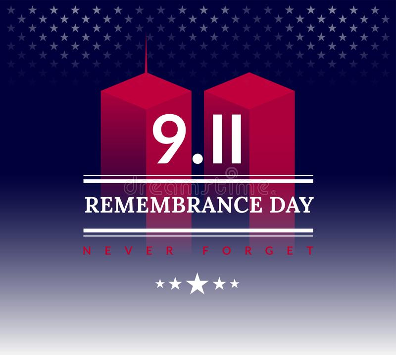 9/11 USA glömmer aldrig September 11, 2001 Begreppsmässig illu för vektor royaltyfri illustrationer