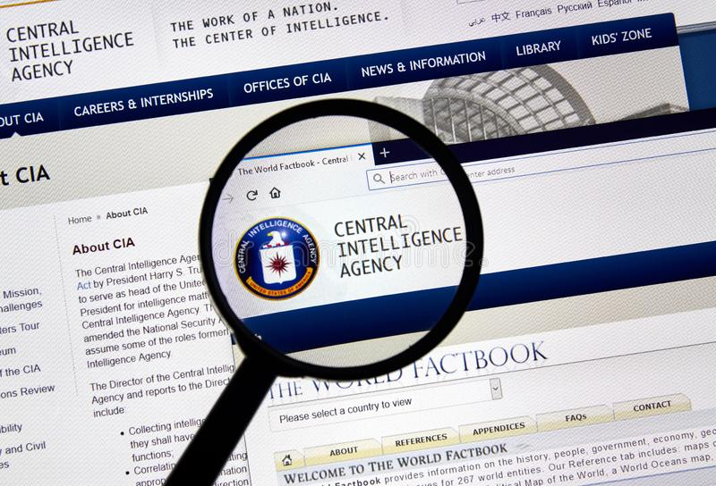 USA Government home page. MONTREAL, CANADA - APRIL 24, 2019 : Cia.gov USA Government home page under magnifying glass. Cia.gov is Central Intelligence Agency royalty free stock images