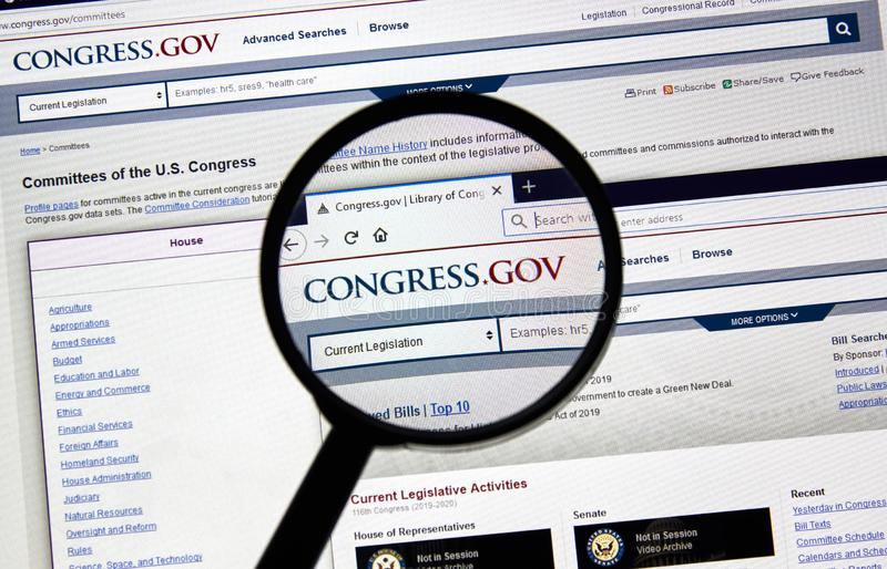 USA Government home page. MONTREAL, CANADA - APRIL 24, 2019 : Congress.gov USA Government home page under magnifying glass. Congress.gov is a database of United stock image