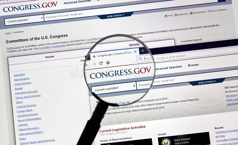 USA Government home page. MONTREAL, CANADA - APRIL 24, 2019 : Congress.gov USA Government home page under magnifying glass. Congress.gov is a database of United stock photography