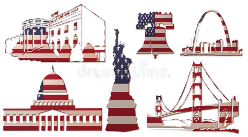 USA-gränsmärken (flagga) A stock illustrationer