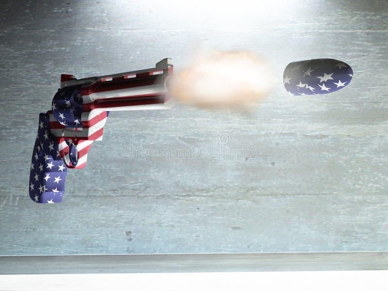 USA Gun. Fires Bullet. 3D rendering stock illustration