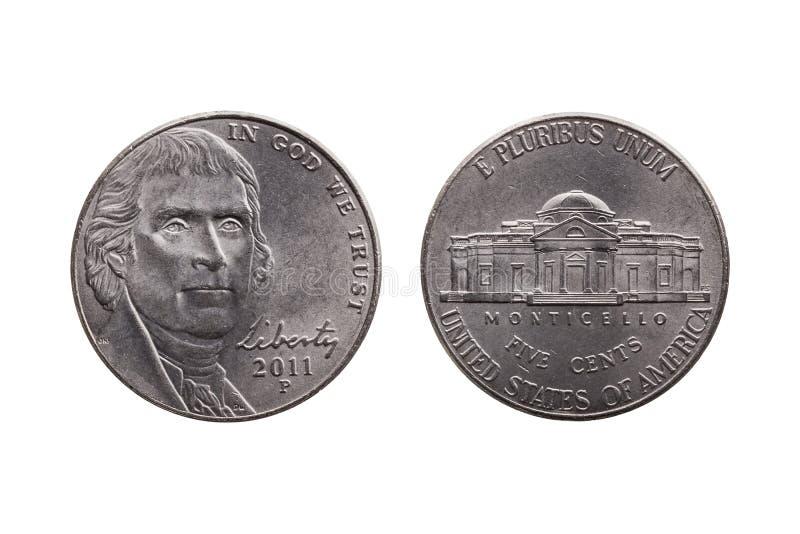 USA half dime coin Thomas Jefferson royalty free stock photo