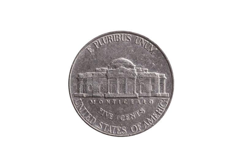 USA half dime nickel coin 25 cents showing Monticello royalty free stock photos
