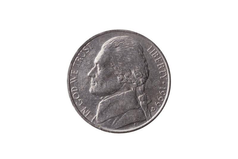 USA half dime nickel coin 25 cents Thomas Jefferson royalty free stock photo