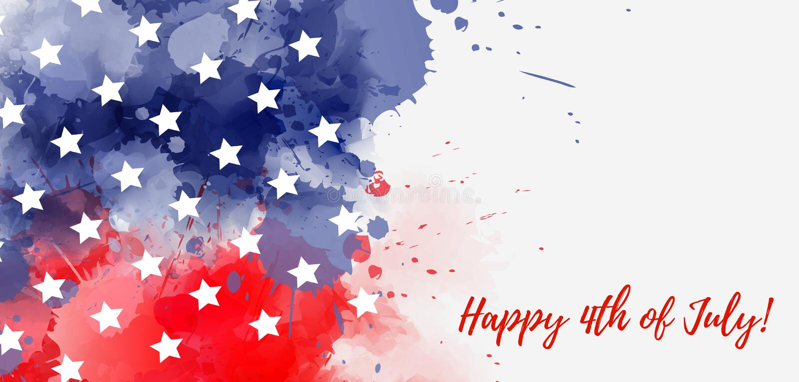 USA Happy 4th of July background. Abstract grunge watercolor paint splashes in flag colors with text. Template for holiday banner, invitation, flyer, etc royalty free illustration