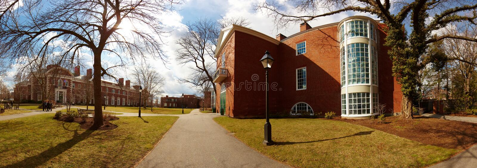 USA, Harvard University, Bloomberg. Harvard University, building facade, Bloomberg, lamppost royalty free stock image
