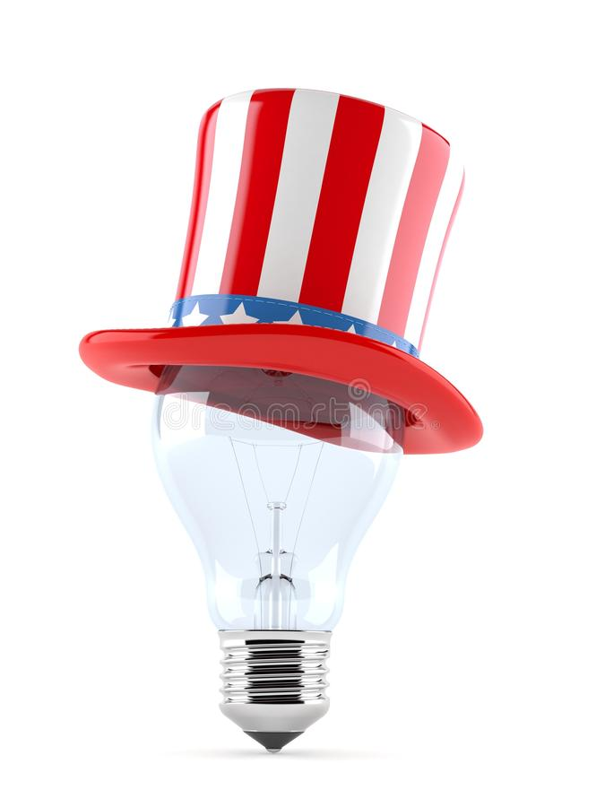 USA hat with Light bulb stock illustration