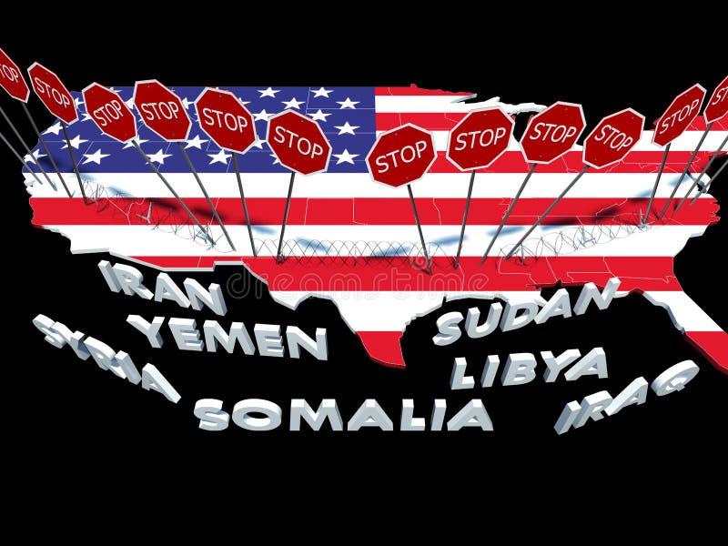 USA hielten Bürger von sieben Moslem-Mehrheitsländern vom Betreten von USA ab vektor abbildung
