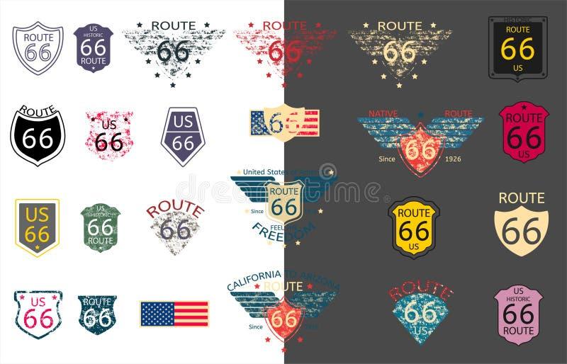 USA historiska Route 66 i vektor stock illustrationer