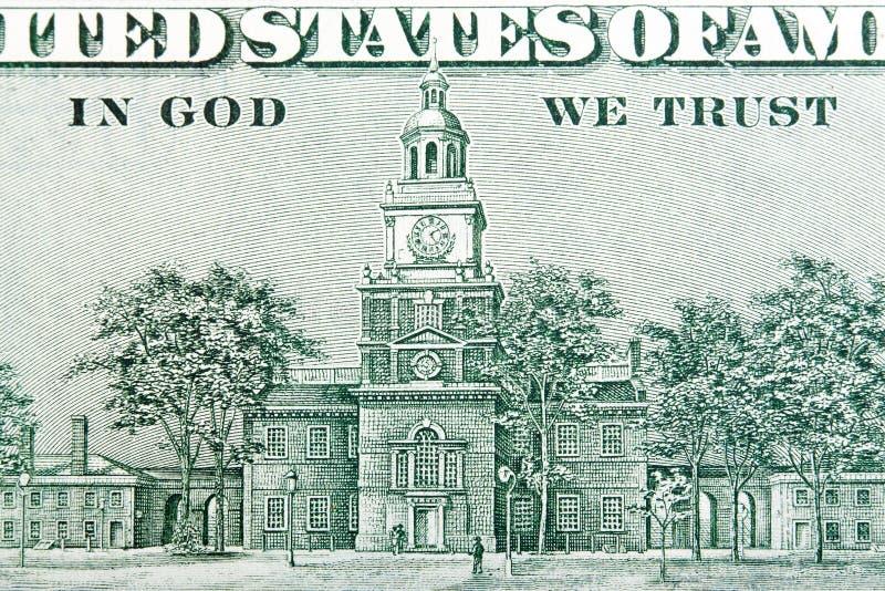 USA hundert des Dollarscheins, Unabhängigkeits-Hall-Nahaufnahme stockbild