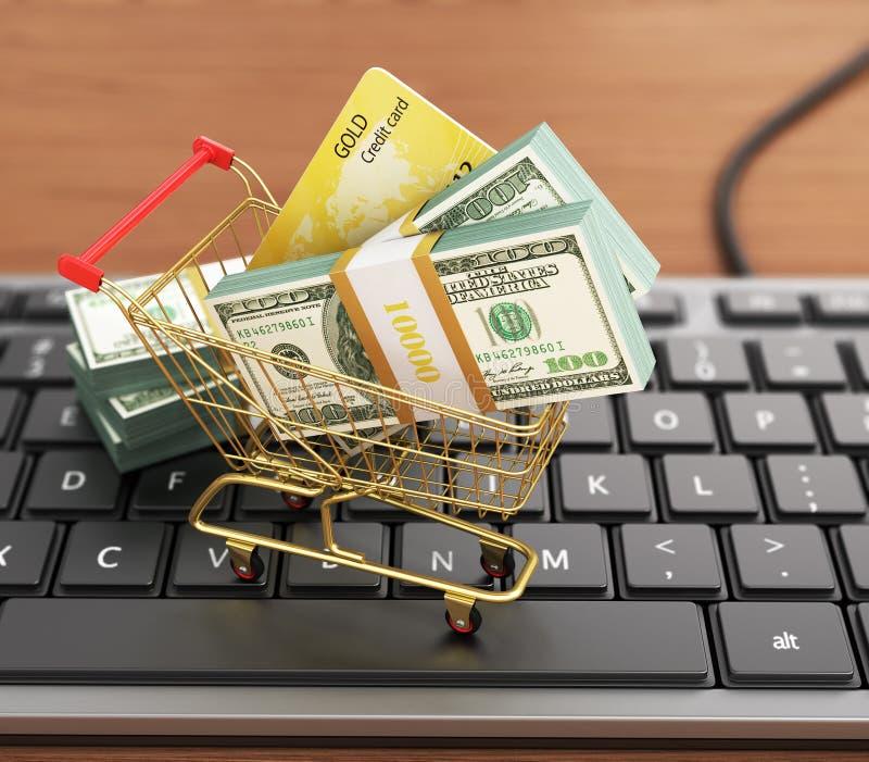 USA hundra dollarräkningar och shoppingvagn med kreditkorten på th vektor illustrationer