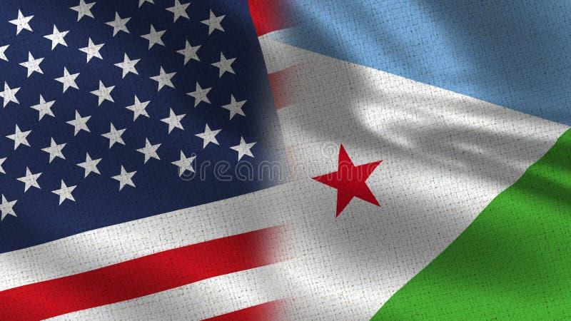Usa i Djibouti połówki Realistyczne flaga Wpólnie royalty ilustracja