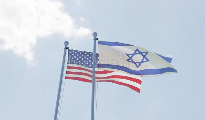 USA i Izrael flaga macha przeciw niebieskiemu niebu ilustracji