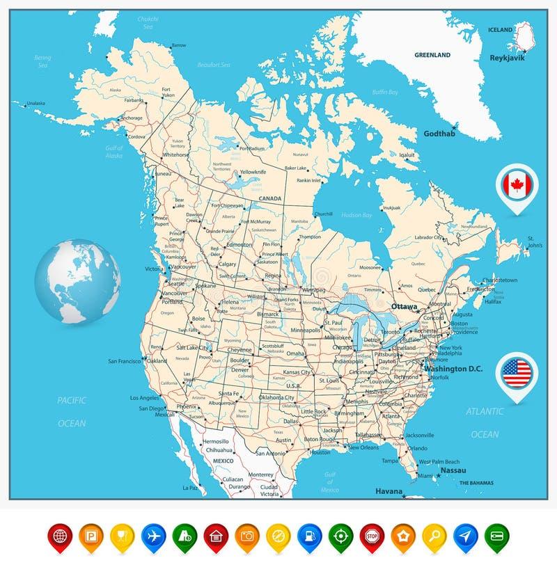 USA i Kanada ampuła wyszczególnialiśmy polityczną mapę z mapa pointerami royalty ilustracja