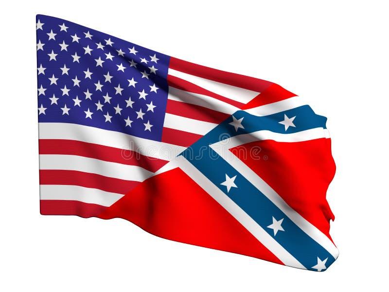 Usa i konfederacyjna flaga royalty ilustracja