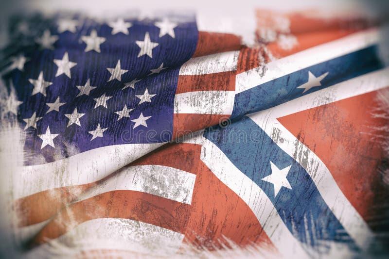 Usa i konfederacyjna flaga ilustracja wektor