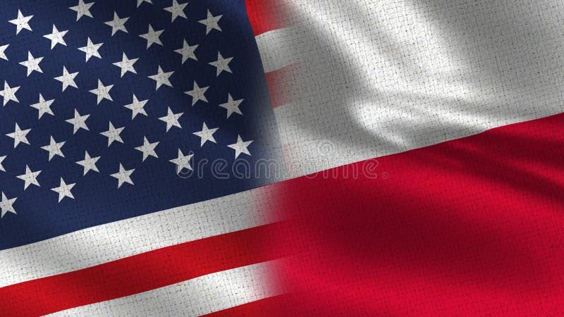 Usa i Polska połówki Realistyczne flaga Wpólnie zdjęcia royalty free