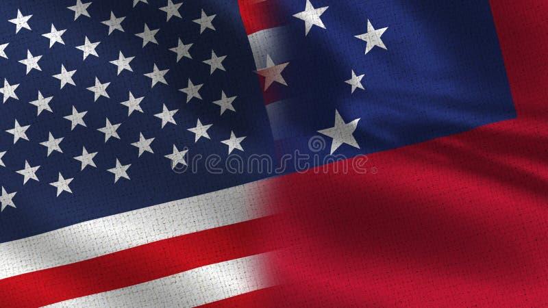 Usa i Samoa połówki Realistyczne flaga Wpólnie zdjęcia royalty free
