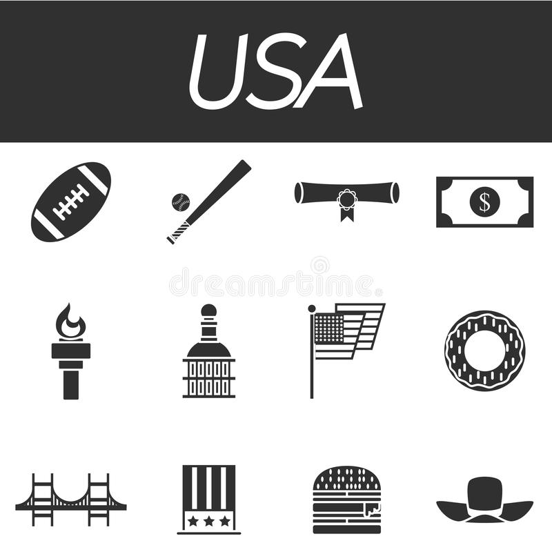 Usa Icon Set Stock Vector Illustration Of City Gate 75117716