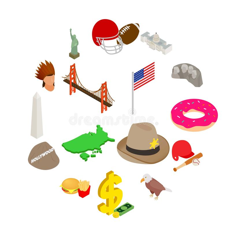 Usa icons set, isometric 3d style royalty free stock photography