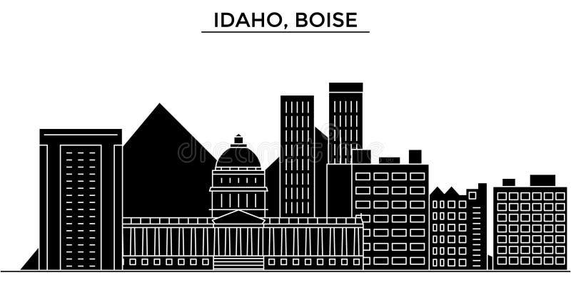 Usa, Idaho, Boise architecture vector city skyline, travel cityscape with landmarks, buildings, isolated sights on royalty free illustration