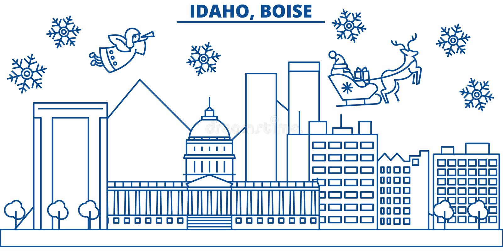 USA, Idaho , Boise winter city skyline. Merry Christmas and Happy New Year decorated banner. Winter greeting card with stock illustration
