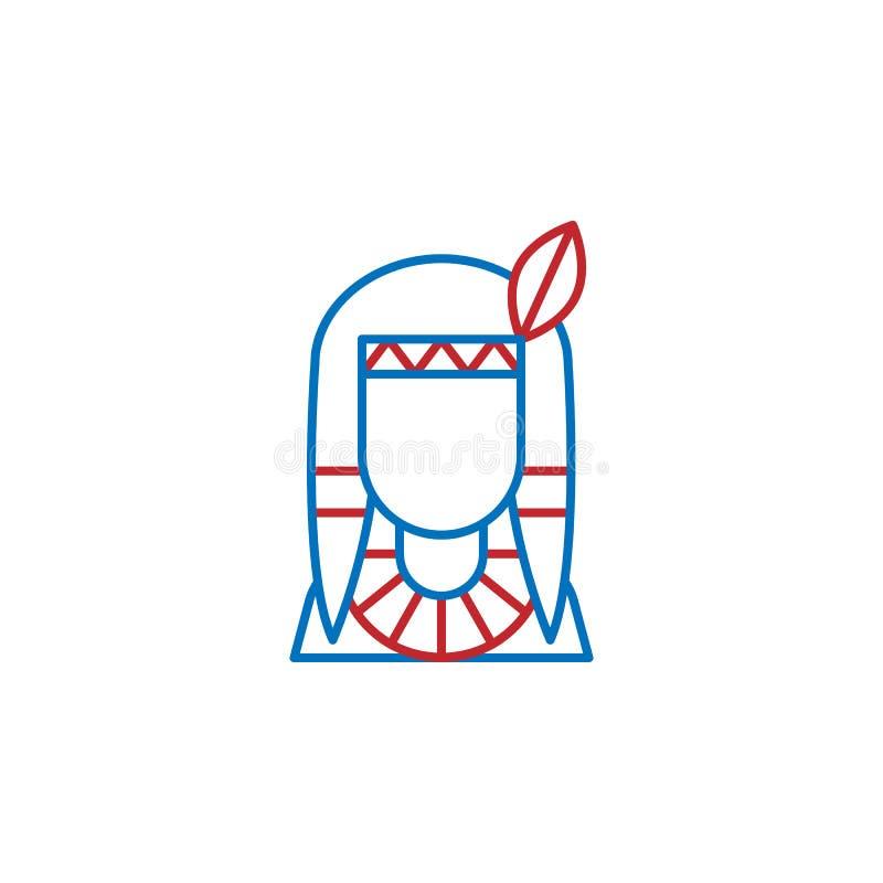 USA, Ikone des amerikanischen Ureinwohners Element der USA-Kulturikone D?nne Linie Ikone f?r Websitedesign und Entwicklung, APP-E lizenzfreie abbildung