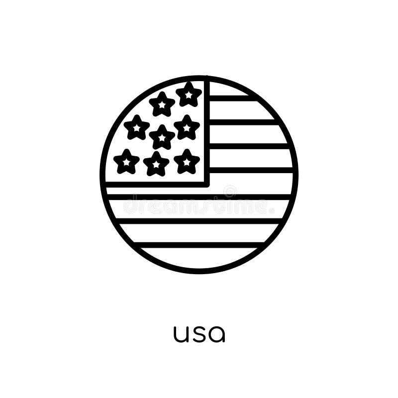 USA-Ikone Modische moderne flache lineare Vektor USA-Ikone auf weißem BAC stock abbildung