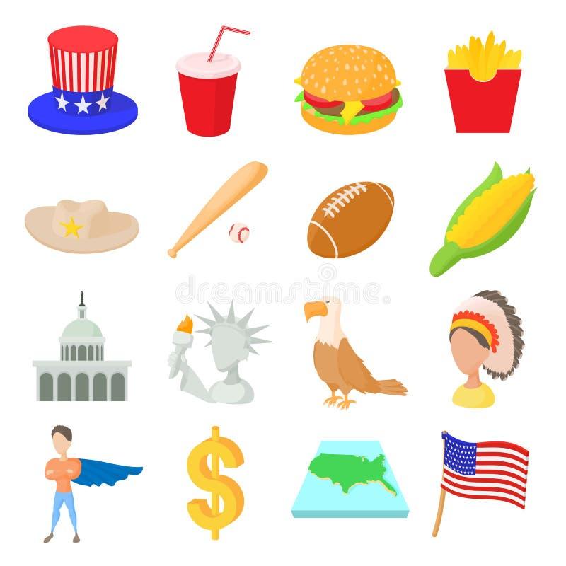 USA-Ikonen eingestellt, Karikaturart lizenzfreie abbildung