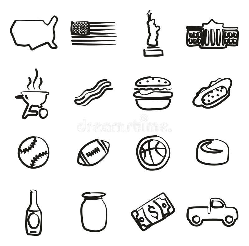 USA-Ikonen freihändig vektor abbildung