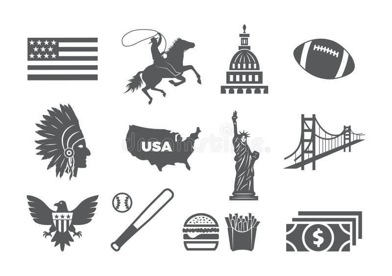USA ikony set ilustracja wektor